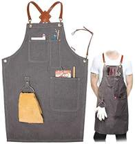 Denim Work Apron, Durable Jean Apron with Pockets, Cross-Back Strap + 3 pockets + 1 Towel Ring + PU Belt (Gray)