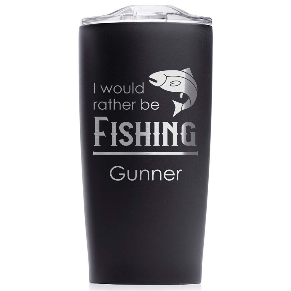 Engraved Personalized Outdoorsman Tumbler 20 oz (Matte Black): Outdoorsman Stainless Steel Travel Mug, Personalized Fishing Tumbler with Name
