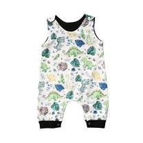 Baby boy Girl Romper Animal Cartoon Jumpsuit Sleeveless Bodysuit One-Piece Outfits Clothes (Dinosaur, 0-6 Months)