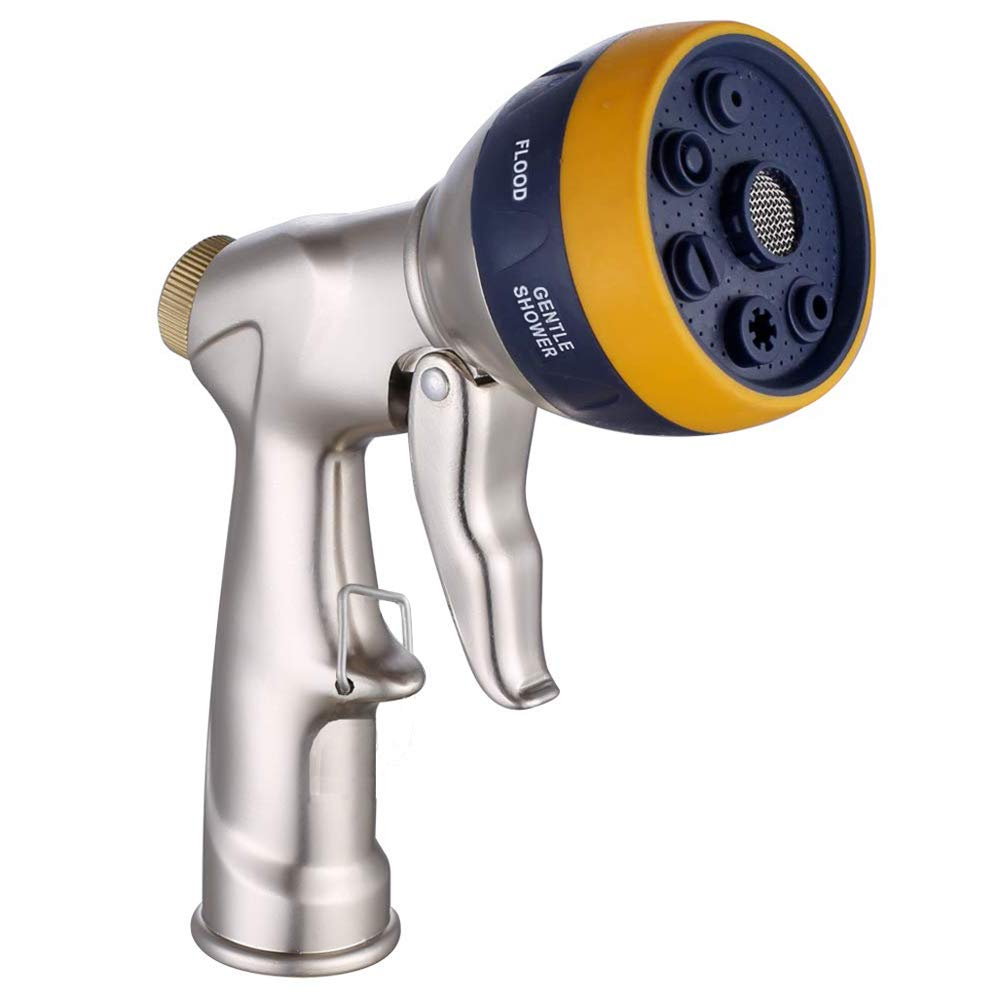 kuosbiu Garden Hose Nozzle Heavy Duty Hose Sprayer Nozzle 100% Metal High Pressure Water Hose Nozzle with 7 Patterns for Watering Garden, Washing Cars and Bathing Pets