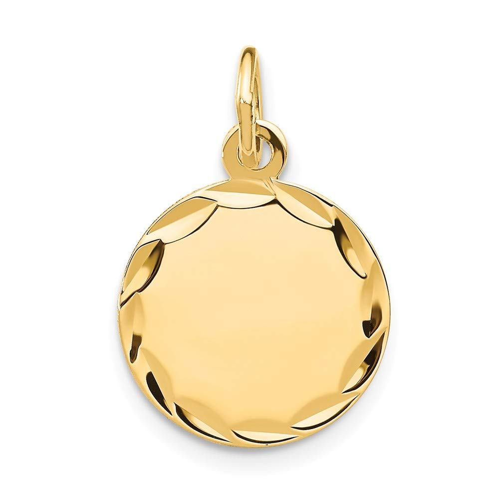 14k Yellow Gold Etched .027 Gauge Engravable Round Disc Pendant Charm Necklace Fine Jewelry For Women Gifts For Her