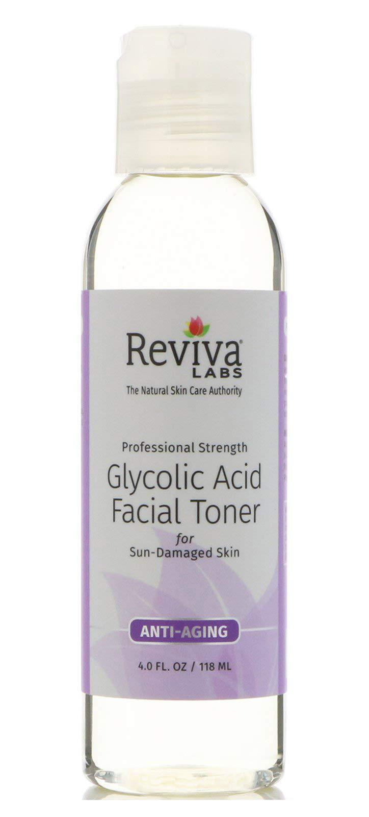 Reviva Labs Glycolic Acid Facial Toner for Sun-Damaged Skin, 4 ounce