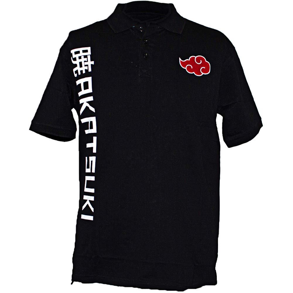 Ripple Junction Naruto Shippuden Adult Akatsuki Cloud 100% Cotton Polo Shirt