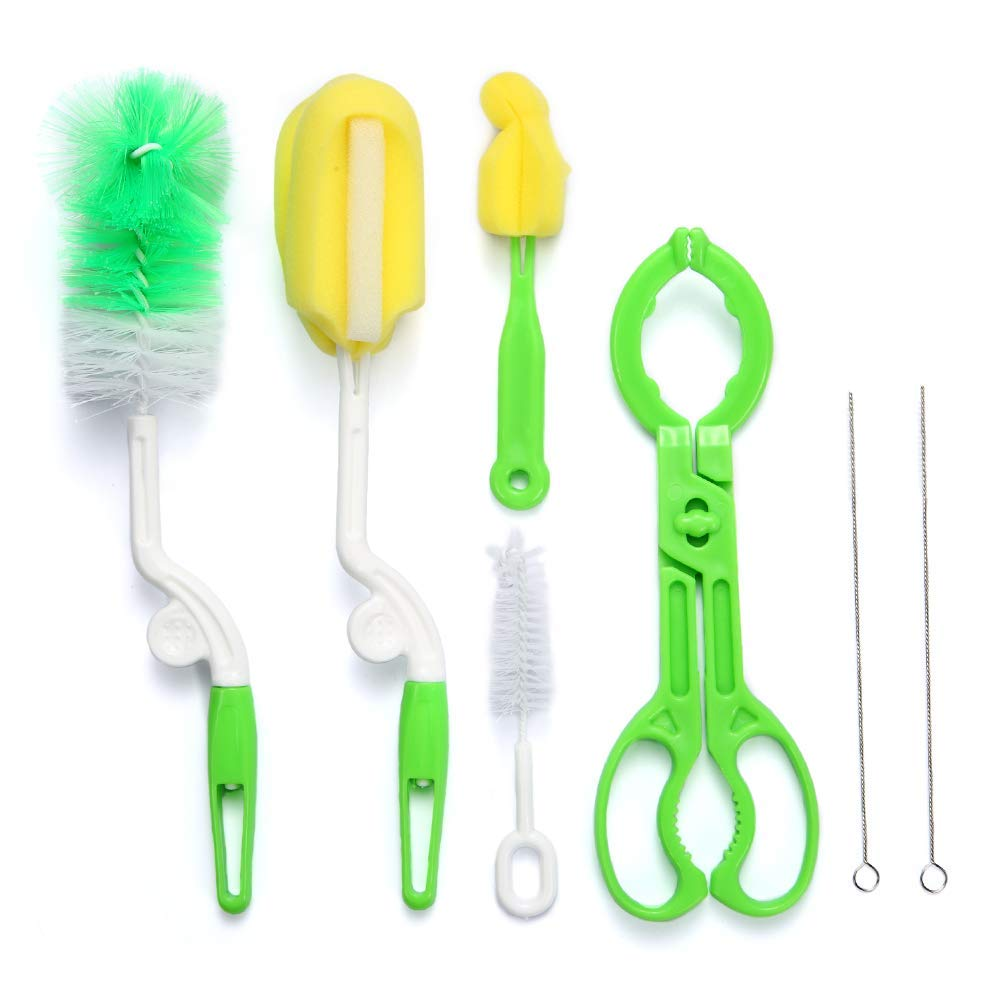 Cleaning Brush Set for Baby Bottles, Pipes, and Tubes Kit, Best Sponge and Brush Cleaner Pack for Straws, Sippy Cups, Nipples, Breast Pumps, More, Non-Scratch Nylon w/Soft Bristles & Bottle Holder