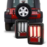 For 2007-2018 Jeep Wrangler Sequential Signal LED Tail Lights Brake Lamps Set - Black