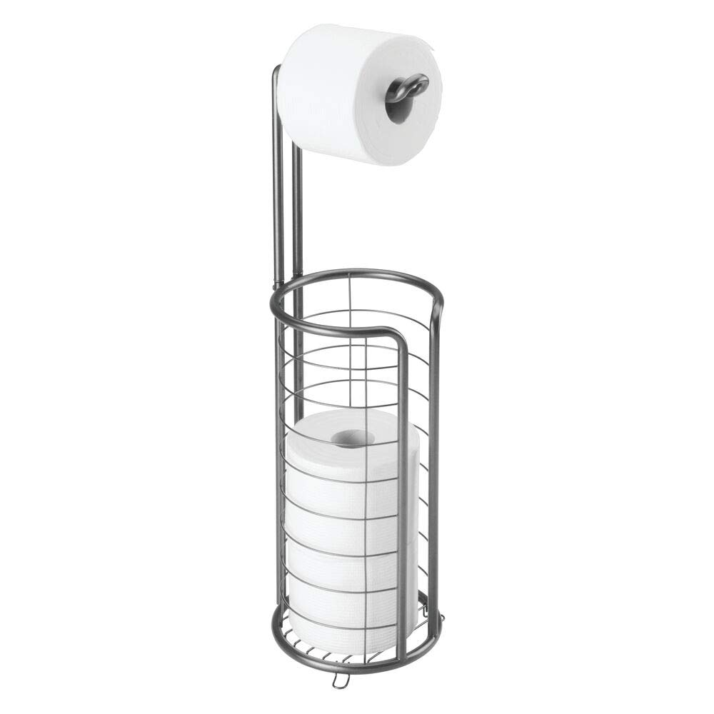 mDesign Modern Metal Freestanding Toilet Paper Roll Holder Stand and Dispenser with Storage for 3 Rolls of Reserve Toilet Tissue - for Bathroom Storage Organizing - Holds Mega Rolls - Graphite Gray