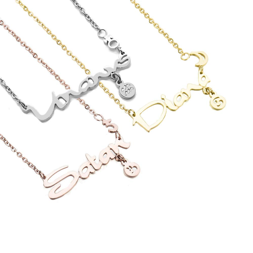 Iprome Custom Zodiac Signs Necklace Constellation Personalized Name Necklace S925 Sterling Silver Jewelry Birthday Gift for Her