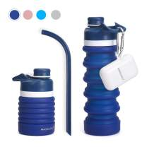 Collapsible Water Bottles 18floz 550ml with Straw Silicone Leak Proof Can Roll Up Portable Foldable Reusable Folding Container for Travel Sports Outdoor Medical Grade BPA Free FDA Approved Non-Toxic