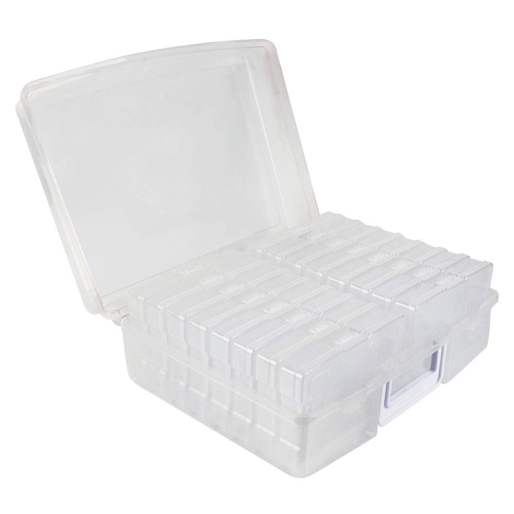 """Novelinks Photo Case 4"""" x 6"""" Photo Box Storage - 16 Inner Photo Keeper Photo Organizer Cases Photos Storage Containers Box for Photos (Clear)"""