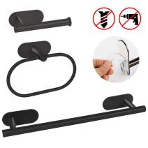AmnoAmno 3 Pieces Stainless Steel Bathroom Hardware Set Modern Style Adhesive Towel Bar Accessory Set-includs Hand Towel Bar, Toilet Paper Holder, Towel Ring, Matte Black