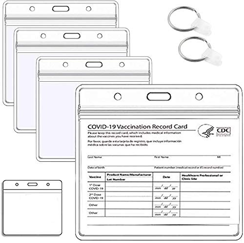 10 Pack - CDC Vaccination Card Protector 4 X 3 Inches Immunization Record Vaccine Cards Cover Holder Clear Vinyl Plastic Sleeve with Waterproof Type Resealable Zip with 2 Buckle for Events Travel