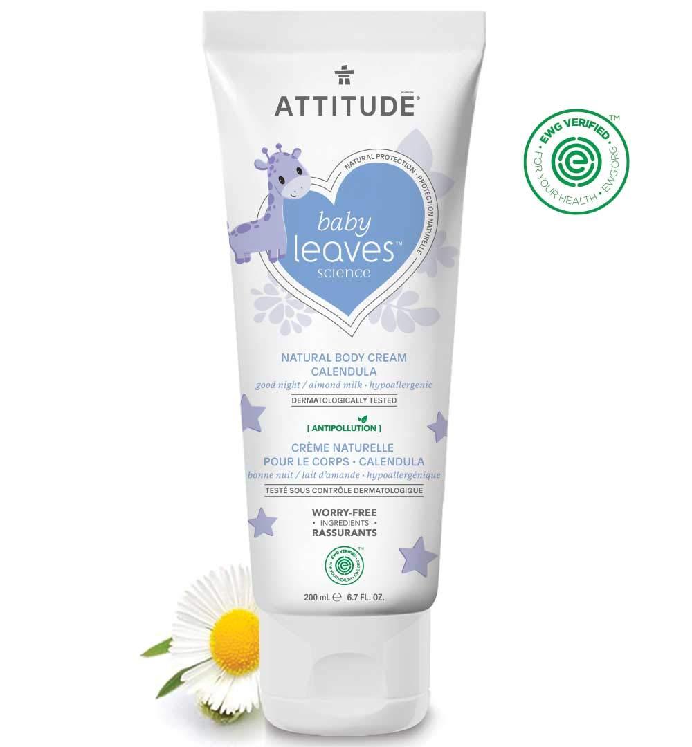 ATTITUDE Baby Calendula Natural Body Cream, EWG Verified, Hypoallergenic and Dermatologist Tested, Almond Milk, 6.7 Fluid Ounce (200 mL)