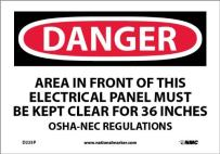"""NMC D225P OSHA Sign, """"DANGER AREA IN FRONT OF THIS ELECTRICAL PANEL MUST KEPT CLEAR FOR 36 INCHES OSHA-NEC REGULATIONS"""", 10"""" Width x 7"""" Height, Pressure Sensitive Vinyl, Black/Red On White"""