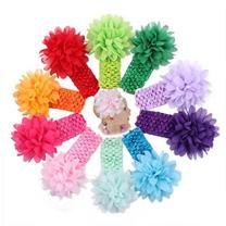 Liasun 10Pcs/pack Baby Girls Headbands – Soft Elastic Hair Bands 10 Lovely Colour Chiffon Flowers Hair-bow Hair Accessories for Baby Girls Toddlers and Kids(Chiffon Headbands)