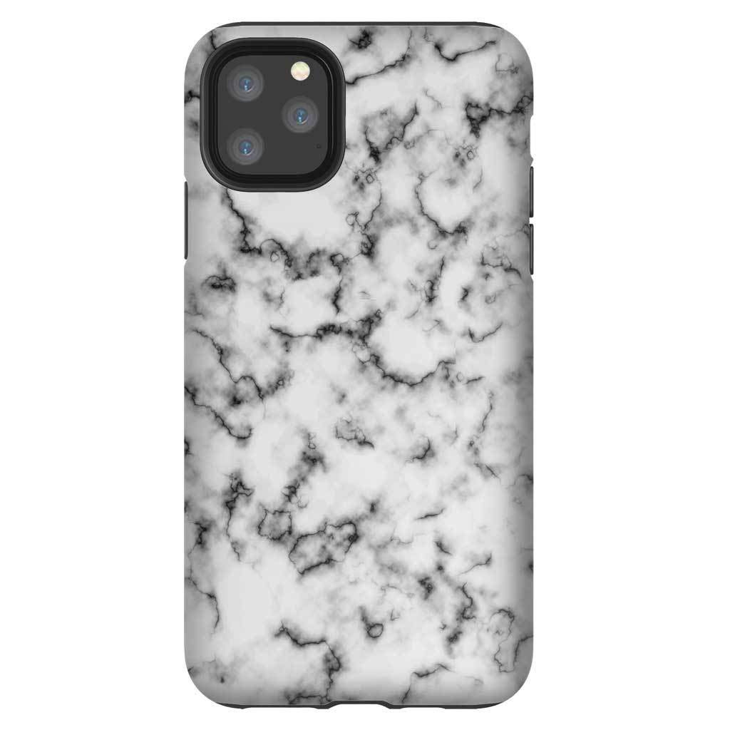 Tough Phone Case for iPhone 11 - Protective Matte iPhone Case with Black White Marble Design