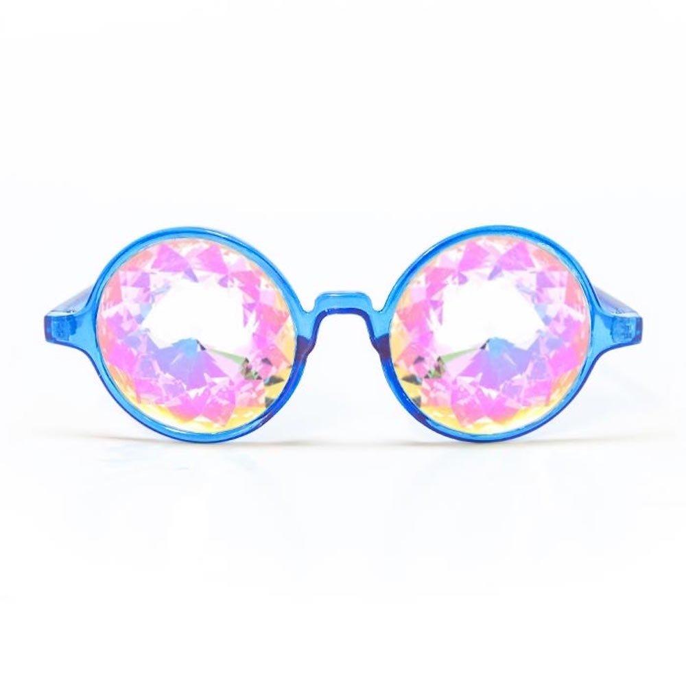 GloFX Transparent Blue Kaleidoscope Glasses – Rainbow Rave Prism Diffraction Trippy Glasses