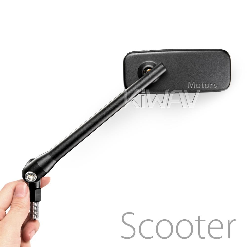 KiWAV Magazi ClassicPlus Black Motorcycle Mirrors Rectangle Convex Black 8mm 1.25 pitch Compatible with Scooter