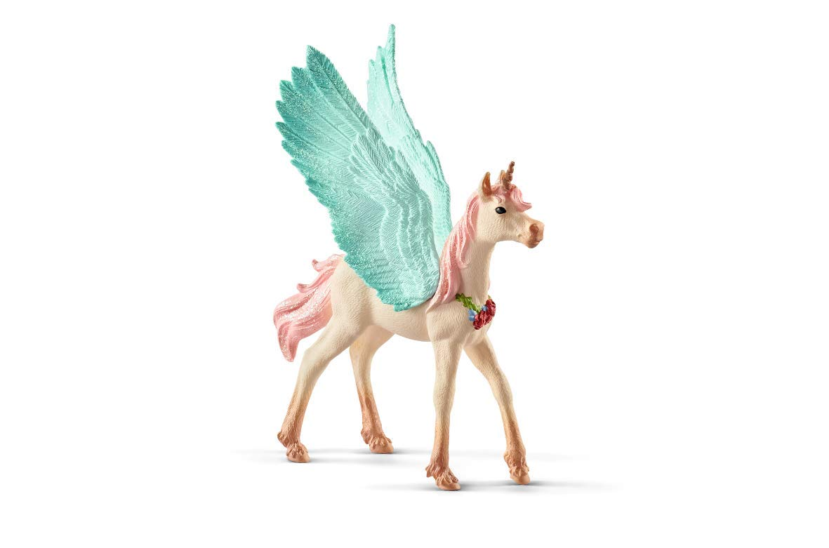 SCHLEICH bayala Decorated Unicorn Pegasus Foal Imaginative Figurine for Kids Ages 5-12
