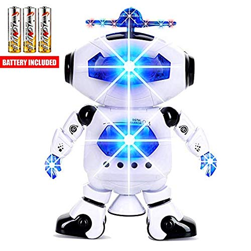Toysery Walking Dancing Robot Toys for Kids, 360° Body Spinning with LED Lights and Music, Battery Operated Electronic ToddlerToy Robot Perfect Birthday Christmas Easter Gift for Boys Girls Toddlers