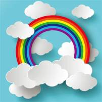 AOFOTO 8x8ft Cartoon Rainbow Clouds on Blue Paper Backdrop for Photography Girl Boy Baby Shower Photo Booth Kids Children Birthday Party Decoration Wallpaper Photo Studio Props
