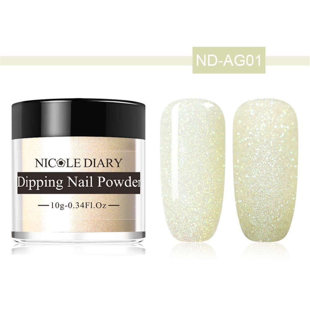 NICOLE DIARY Colorful Dip Nail Powder Acrylic Dipping Nail Powder Matte Shining French Effect Glitter Pigment No UV/LED Nail Lamp Needed #1