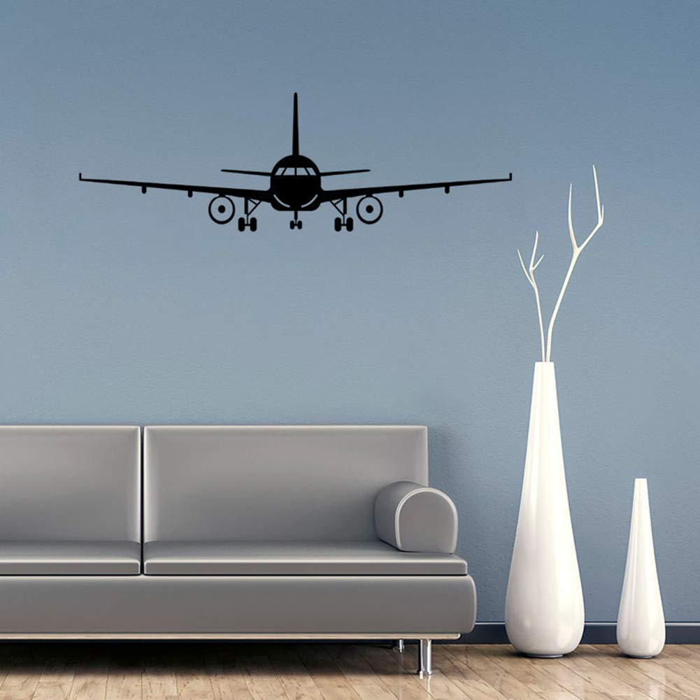 """Cool Airliner Airplane Aircraft Biplane Silhouette Wall Stickers,Removable DIY Plane Wall Decal Art Mural for Kids Boys Gift Bedroom Decoration (Black, 20"""" x 6"""")"""