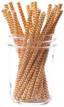 Simply Baked Paper Cocktail Straw, Tangerine Chevron, 5.5-Inch, 25-Pack, Colorful, Disposable, and Compostable