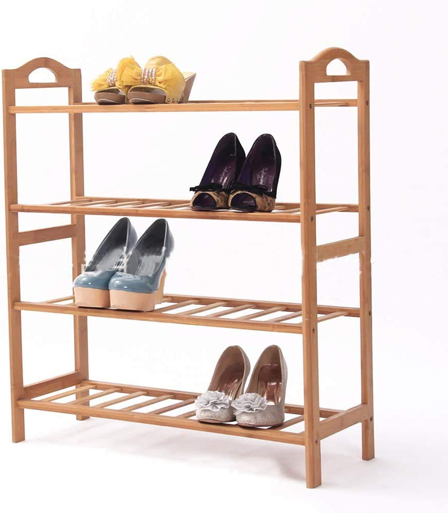 sogesfurniture Free Standing Bamboo Shoe Rack with Handles - 4 Tier - Closets and Entryway - Organizer - Fits 12 Pairs of Shoes, Entryway Shoe Shelf Storage Organizer, BHUS-XJ-4-D