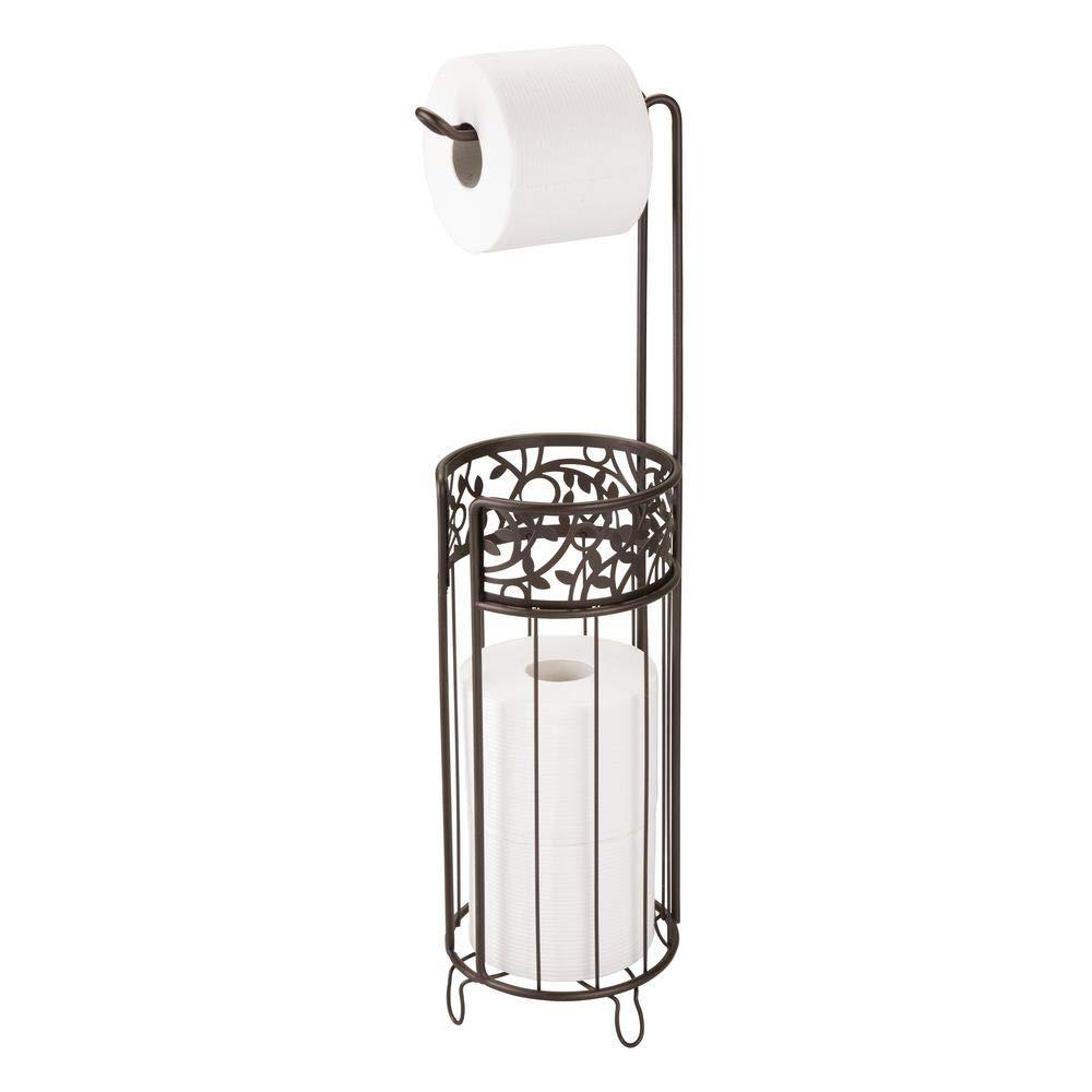 "iDesign Vine Metal Free Standing Toilet Paper Tissue Holder, Cannister for Kids', Guest, Master, Office Bathroom, 6.25"" x 7"" x 25"", Bronze"