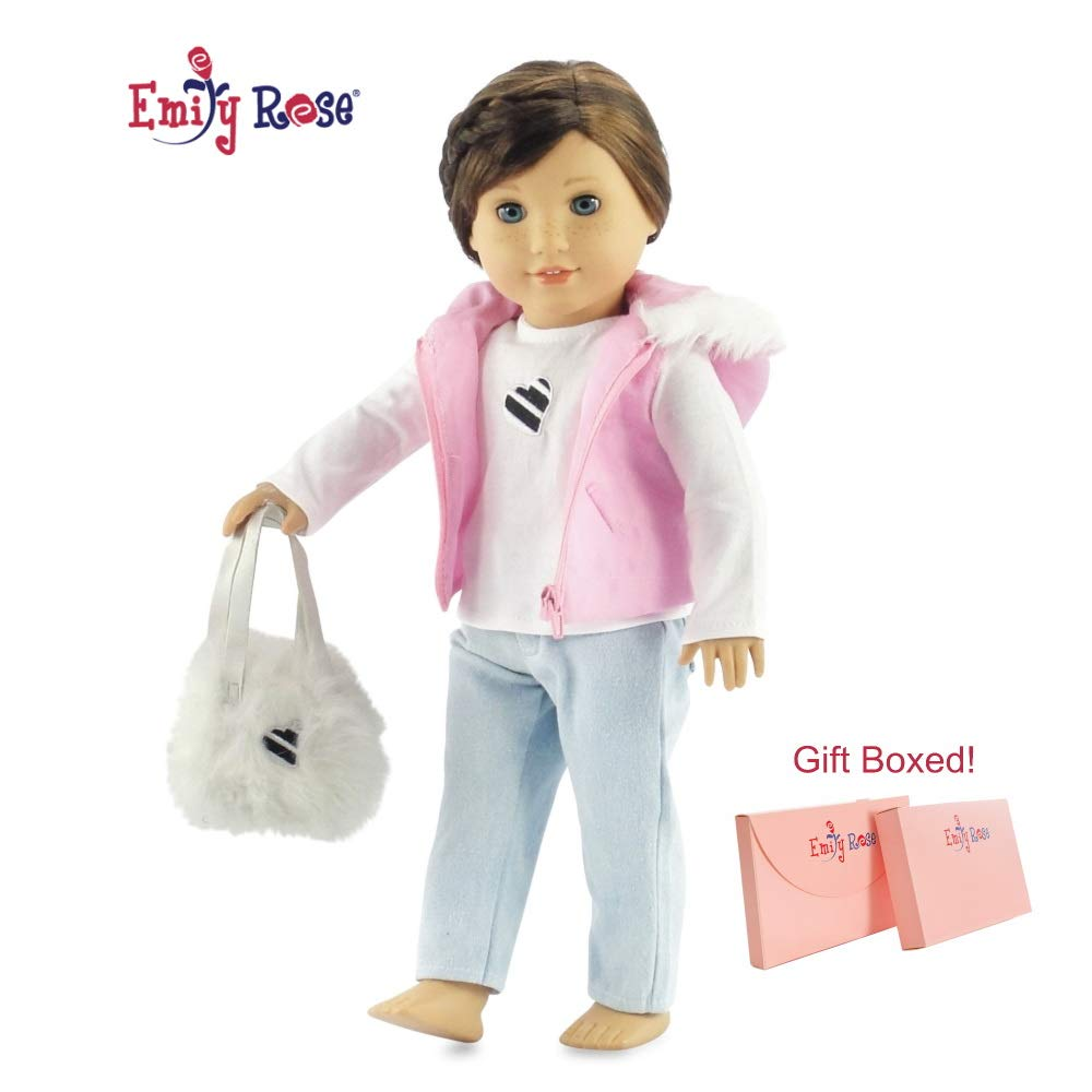 "Emily Rose 18 Inch Doll Clothes for American Girl Dolls | Pink Puffy Hooded Vest Piece Doll Outfit with Fur Trim, Includes Doll Accessories | Gift Boxed! | Clothing Fits 18"" American Girl Dolls"
