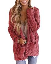 CCBSTS Womens Cable Twist Knit Cardigans Plus Size Open Front Long Sleeve Chunky Sweaters Coats with Pockets Red
