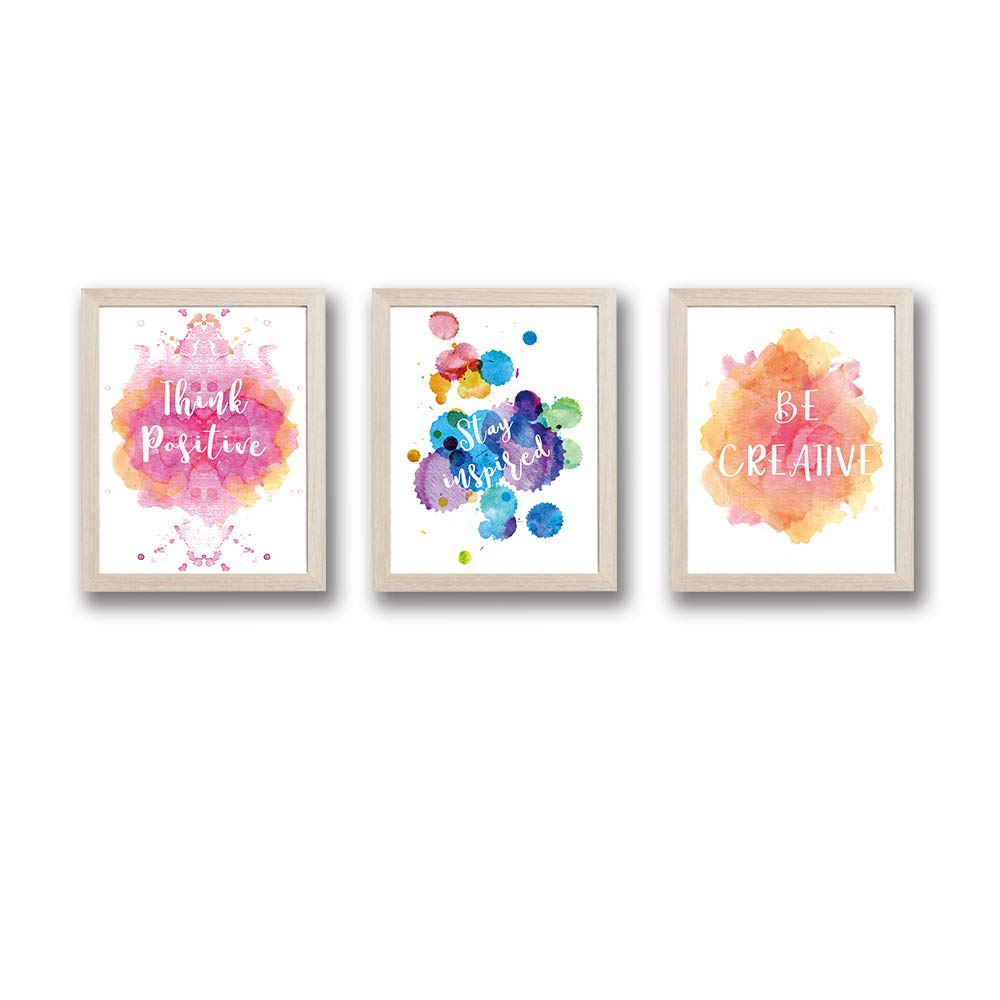 """Framed Abstract Splash Color Art Print Set of 3 (10""""X8"""")-Ready to Hang Inspirational Quotes Wall Saying Poster, Modern Typography Canvas Artwork for Teens Bedroom Playroom"""