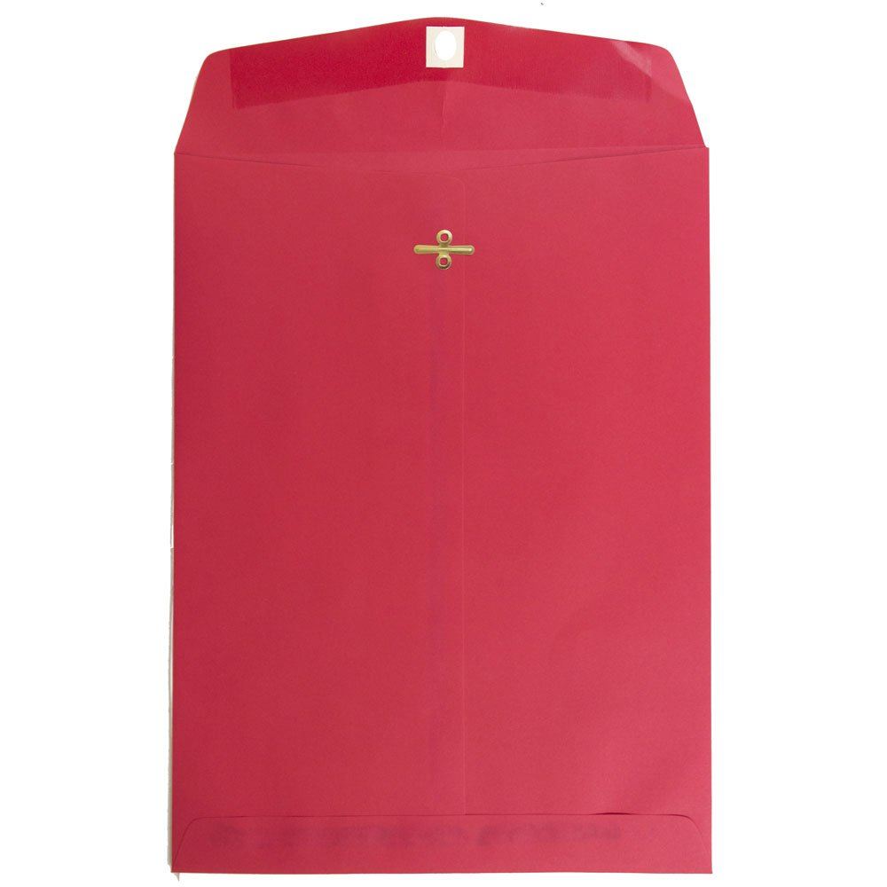 JAM PAPER 9 x 12 Colored Recycled Envelopes with Clasp Closure - Red Recycled - 100/Pack