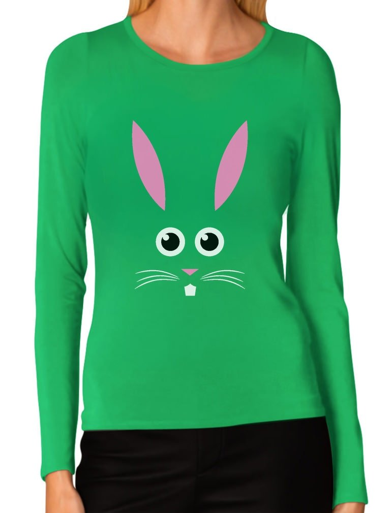 Funny Easter Bunny Face Shirt Cute Easter Women's Long Sleeve T-Shirt Small Green