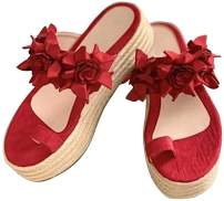 DEARWEN Women's Flower Slip On Platform Sandals Casual Daily Espadrille Clip Toe Platform Sandals Comfort Sandals