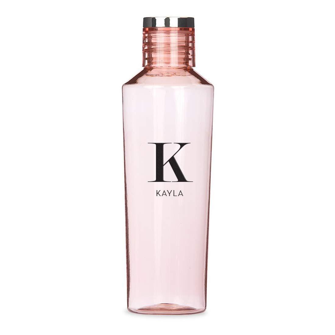 Weddingstar Personalized Tritan Plastic Water Bottle 27oz – Reusable Customizable Eco-Friendly Plastic Water Bottle – 100% BPA-Free, Environmentally Friendly Canteen - Serif Monogram Light Pink