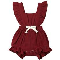 Puloru Toddler Baby Girl Ruffle Cotton Romper Solid Sleeveless One-Piece Jumpsuit Backless Bodysuit Outfit