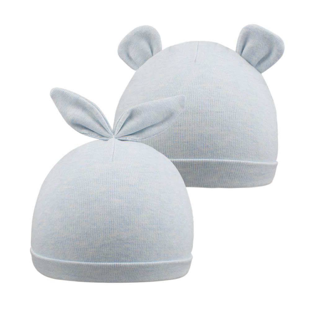 XIAOHAWANG Infant Baby Hats Soft Newborn Hospital Hat Adjustable Knot Cute Nursery Beanie Oraganic Cotton (Blue Pack of 2)