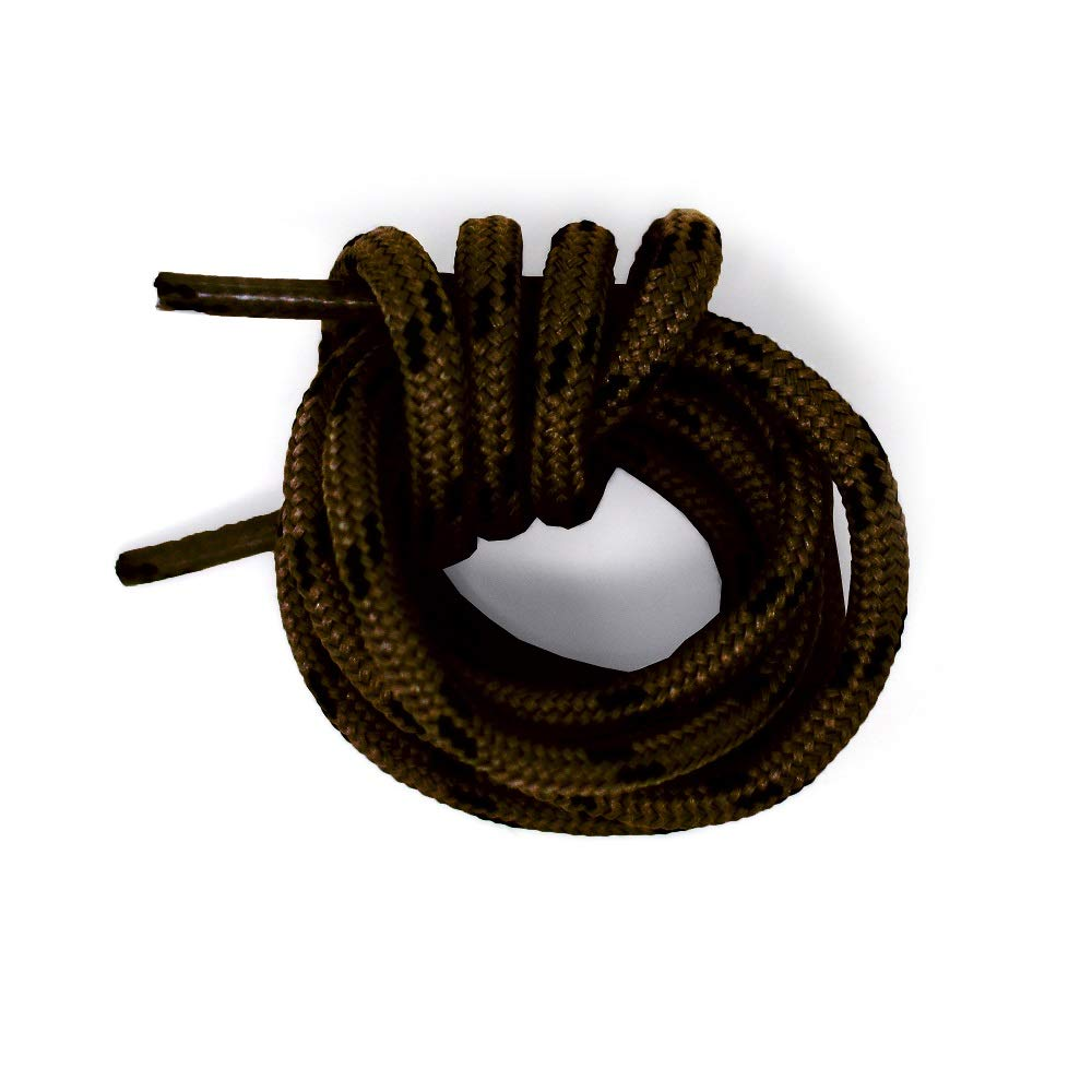 Honey Badger Work Boot Laces Heavy Duty W/Kevlar - USA Made Round Shoelaces for Boots - Brown Blk