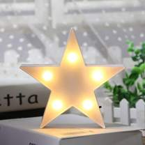 LED Plastic Star Night Light,Nursery Light Wall Decor for Christmas,Birthday Party,Kids Room, Baby Room Table Lamp(White)
