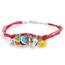 Genuine Leather Orange Red Turkish Dangle Charm Boho Evil Eye Bracelet For Teen Women 14K Gold Plated Sterling Silver