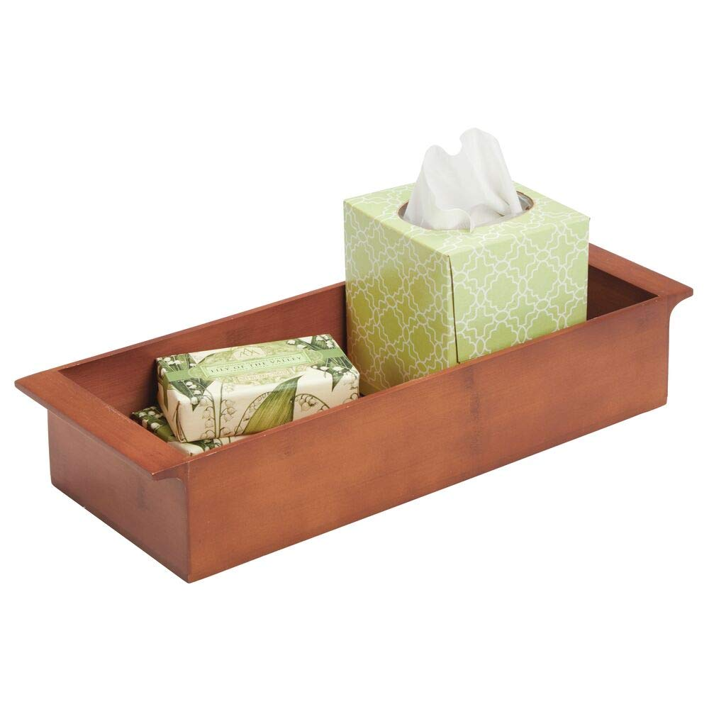 """mDesign Deep Bamboo Storage Organizer Tray Bin with Handles, Eco-Friendly, Multipurpose; Use on Bathroom Vanity, Countertop, Toilet Tank - Stackable, 16"""" Wide - Cherry Wood Finish"""