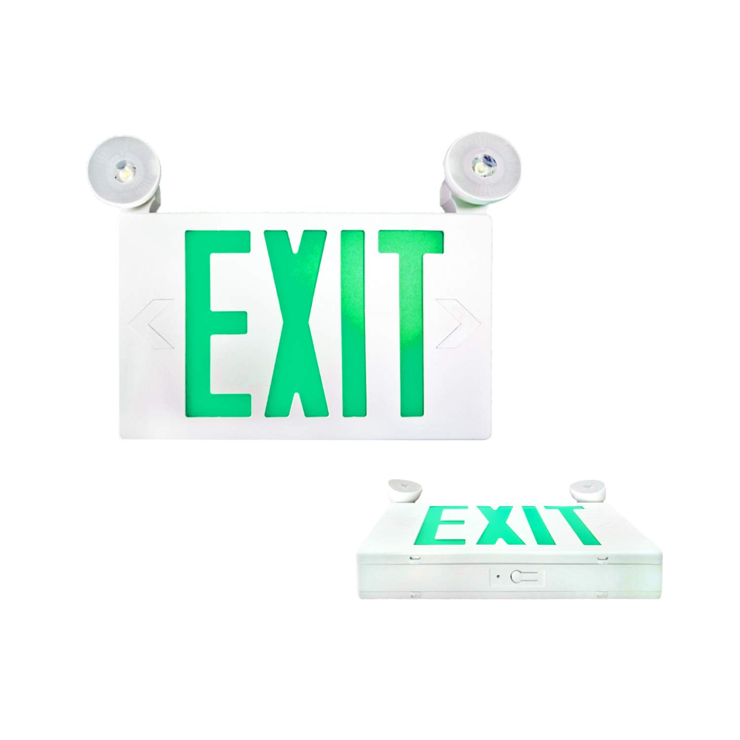 SPECTSUN LED Exit Sign Battery Backup, Green Exit Emergency Light with 2 Lamp Heads, Fire Exit Sign with Emergency Lights, Hardwired Exit Sign - 2 Pack, 120V Exit Sign, Commercial Emergency Exit Sign
