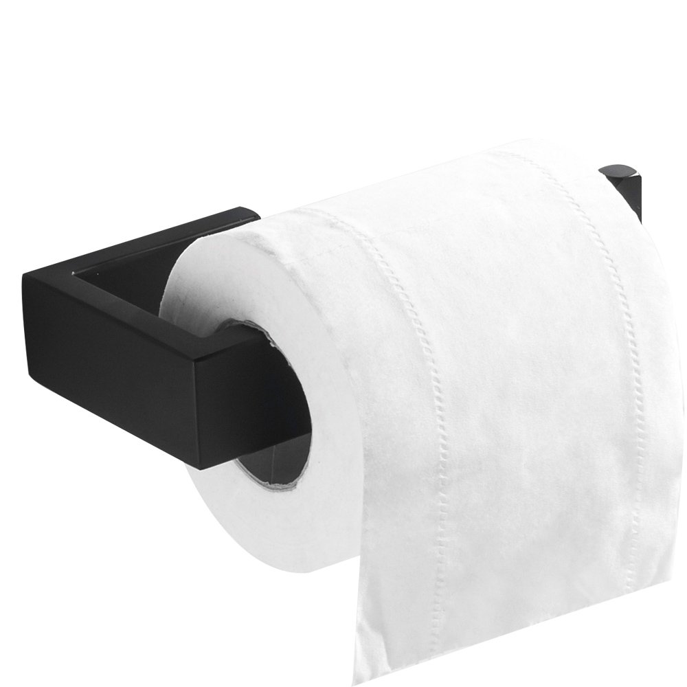 Flybath Toilet Paper Holder Without Cover SUS 304 Stainless Steel Bathroom Roll Tissue Holder Wall Mounted, Matte Black Finish