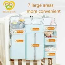 Newzealkids Baby Diaper Storage Nursery Organizer Hanging Diaper Organization,Multifunctional Baby Essentials Storage Bag/Finishing Bag,Hanging on Crib/Changing Table/Wall (Blue).