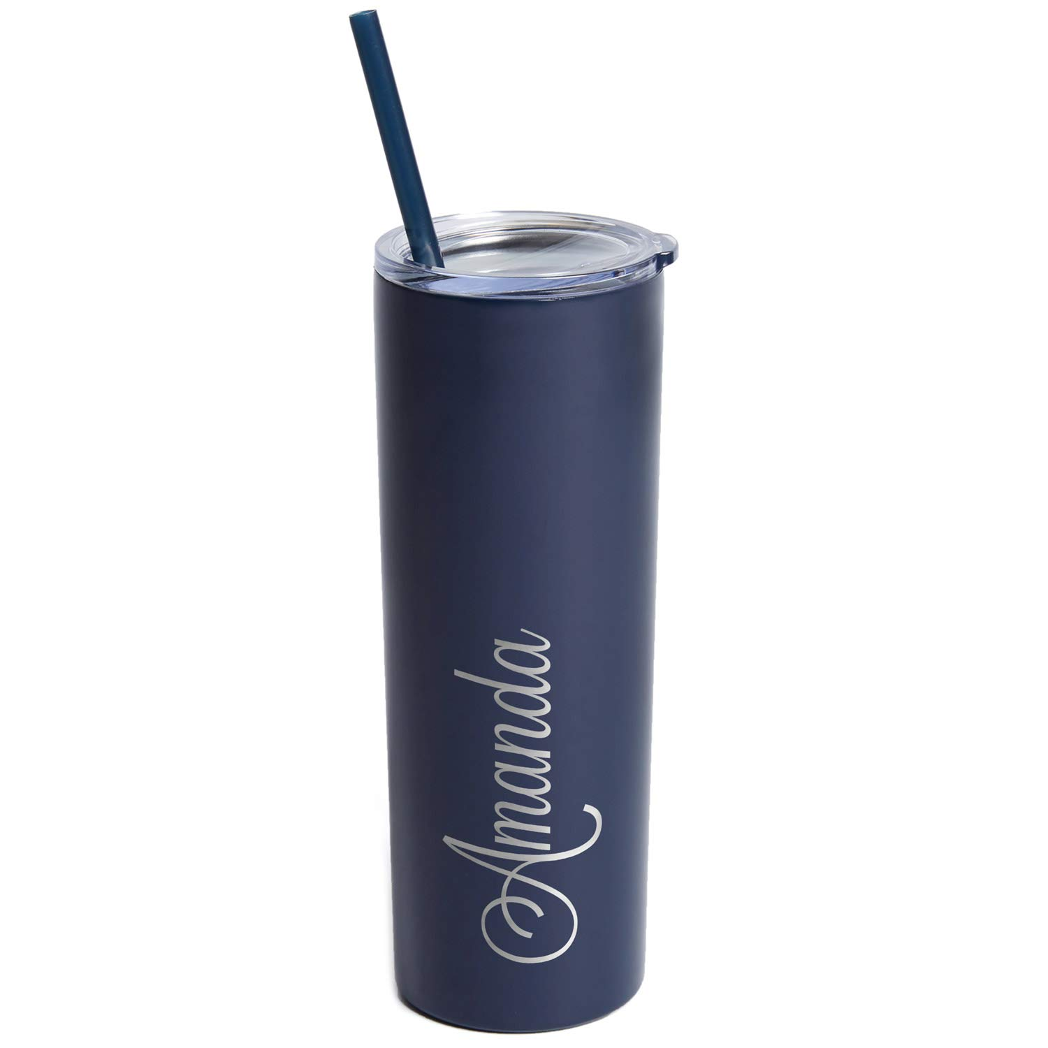 Engraved Personalized Tumbler with Straw 20 oz - Stainless Steel Vacuum Insulated Skinny Tumbler Engraved with Name (Navy)