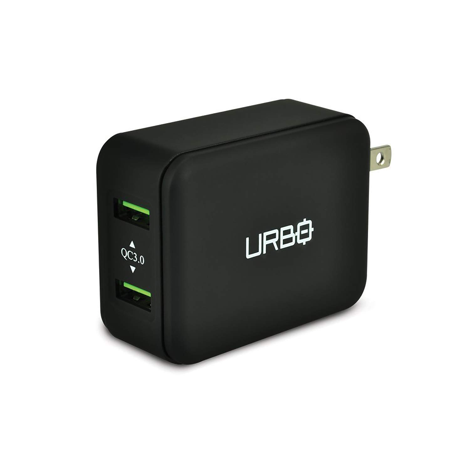 Urbo Quick Charging 3.0 Dual-USB Foldable Travel-Friendly Wall Plug for QC 3.0 Compatible Phones, Smartphones, GPS and Other USB Powered Devices