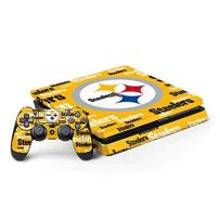 Skinit Decal Gaming Skin for PS4 Slim Bundle - Officially Licensed NFL Pittsburgh Steelers Yellow Blast Design