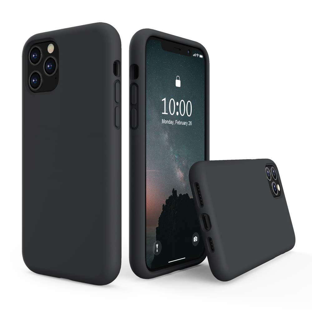 SURPHY Silicone Case Compatible with iPhone 11 Pro Case 5.8 inch, Liquid Silicone Full Body Thickening Design Phone Case (with Microfiber Lining) for iPhone 11 Pro 5.8 2019, Black