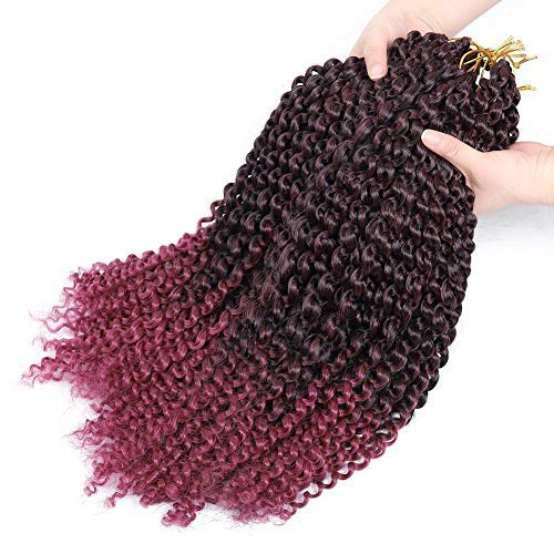 Passion Twist Crochet Hair 7 Packs Water Wave Crochet Braiding Hair 18 Inch Long Bohemian Hair for Passion Twist Synthetic Braids Ombre Burgundy(7pack Tburgundy)